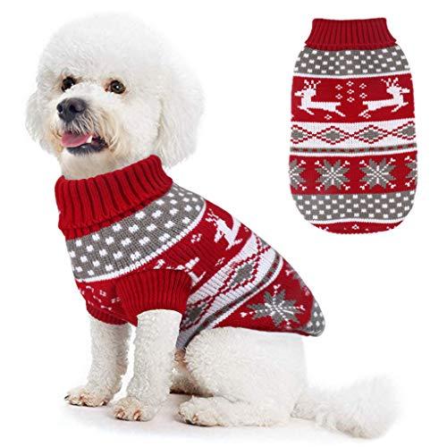 Idepet Hundekostüm Weihnachten, Welpe Hund Katze Strickpullover Sweater Weihnachten Rentier Jumper Haustier Kostüm Mantel Rot M (S, Rot)