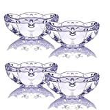 TAMUME Juego de 4 cuencos de cristal transparente con patrón de flores, ideal para la celebración de helado en verano, taza de postre de cristal (flor morada)