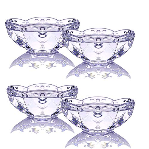 TAMUME Ice Cream Bowl Set of 4 Transparent Glass Bowl with Flower Pattern, Ideal for Holding Ice Cream in Summer Time, Glass Sundae Dessert Cup (Purple Flower)