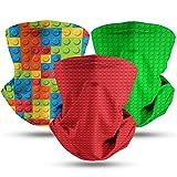 Mens Womens Kids Face Bandanas LE-GO Toy Balaclava Windproof Masks for Sports Hiking Headwear 3Pcs