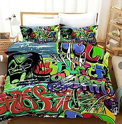 BLSM - Funda de edredón y funda de almohada con impresión digital, diseño de graffiti Hip hop, apta para niños, ropa de cama favorita de niñas, 170 x 218 cm, 2 unidades