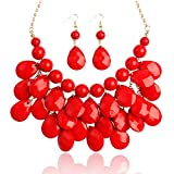 Chunky Acrylic Jewel Cluster Floating Bubble Statement Necklace - Teardrop Dangle Layered Bib Collar (Red)