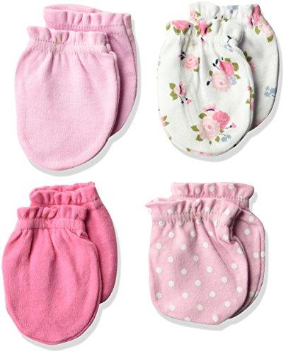 Luvable Friends Unisex Baby Cotton Scratch Mittens, Floral Dot, 0-6 Months