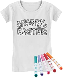 Happy Easter Coloring Kit with Fabric Markers Girls' Fitted Kids T-Shirt
