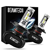 BEAMTECH H4 LED Bulb, 50W 6500K 8000Lumens Extremely Brigh (9003 Hi/Lo) CSP Chips Conversion Kit Fanless All In One Plug N Play Low Fog Light