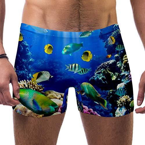 Lorvies Herren Badehose mit tropischen Fischen auf Korallenriff, kurz, quadratische Beine, schnell trocknend, Größe S Gr. L/XL, multi