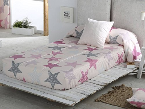 Sansa - Edredón Ajustable Estrellas Cama 90 - Color Rosa