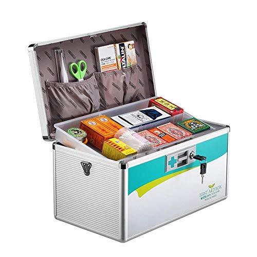 GOXJNG Medizin Box Set Tragbare Erste-Hilfe-Box Aluminium Medizin-Schrank Abschließbare Medical Kit mit verstellbarem Schultergurt for Home Reise Arbeitsplatz Büro (Color : Silver, Size : XL)
