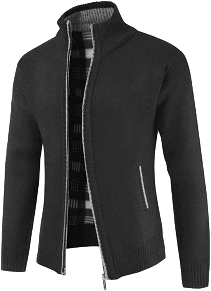 Thick Cashmere Knitted Men's Sweaters Cardigan Autumn Black Zipper Knitting Sweater for Men