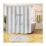 Anwaz Duschvorhang & Badteppich Set Anti-Schimmel aus Polyester Zahlen Muster Design Bad Vorhang Badvorleger Bunt mit 12 Duschvorhangringen für Badewanne - 90x180CM/ 40x60CM