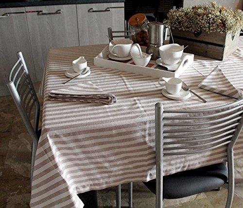 Tischdecke und Servietten - Baumwolle 100% Muster METROPOLITAN - FARBE: sand und beige