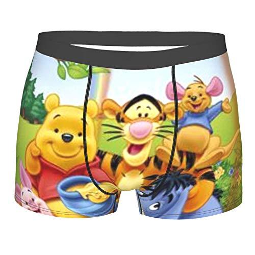 BarbaraHagen Winnie The Pooh Herren Boxershorts Unterhose Mikrofaser Weich Stretch Boxer Briefs Elasticity Unterwäsche Gr. S, Schwarz