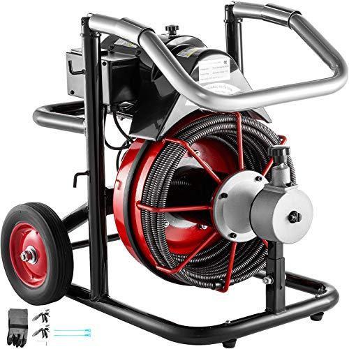Mophorn 50 Ft x 1/2Inch Drain Cleaner Machine fit 1 Inch (25mm) to 4 Inch(100mm) Pipes 370W Open Drain Cleaning Machine Portable Electric Drain Auger with Cutters Glove Drain Auger Cleaner Sewer Snake