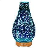 Faithvhk Difusores De Aceite Esencial De Aroma De Vidrio, Lámparas De Fragancia con Efecto De Fuegos Artificiales 3D, Humidificador De Aromaterapia Silencioso con 7 Cambios De Color