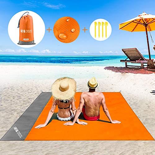 BALCONY & FALCON Alfombra de Playa Grande Manta de Playa Portátil Toalla de Playa Impermeable con Clavijas Fijas Manta Multifuncional para Camping Picnic 140 x 200cm (Naranja)