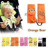 INCHANT suave coche niños bebé asiento cinturón auto hombro almohadilla asiento tapa de la correa (oso naranja)