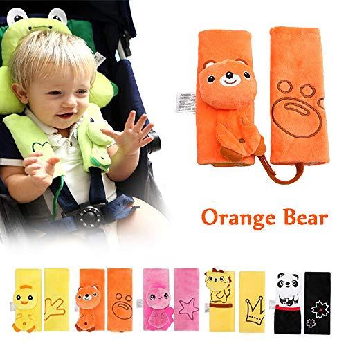 INCHANT Soft Car Children Coussin de ceinture de sécurité pour bébé Coussin d'épaule automatique Coussin de sécurité (Orange Bear)