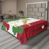 Lunarable Sicily Flat Sheet, Italy Gastronomic Map Image Showing Grape Producing Regions and Local Wine Varieties, Soft Comfortable Top Sheet Decorative Bedding 1 Piece, California King, Multicolor