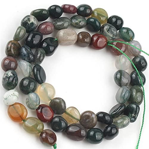 ZLDDE Cuentas de Piedra 5-7mm Aguas Irregulares Naturales Cuarzs Jaspers Piedra Beads Talle Bead para joyería Hacer Bricolaje Pulsera Accesorio Unisexo (Color : Indian Agate)