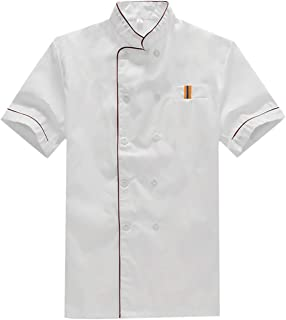LIUHUAF Sushi Chef Coat Uniforms Kimono Short Sleeve Unisex Coat