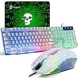 UK Disposición Juegos de teclado y mouse para juegos Retroiluminación retroiluminada Rainbow Usb Gaming Keyboard + 2400DPI 6 Botones Optical Rainbow LED Usb Mouse + Gaming Mouse Pads