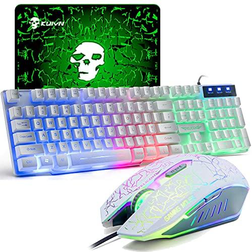 UK Disposición Juegos de teclado y mouse para juegos Retroiluminación retroiluminada Rainbow Usb Gaming Keyboard + 2400DPI 6 Botones Optical Rainbow LED Usb...