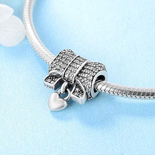 XUBB ZioCz 925 Silber Glänzender Zirkon zarte Schleife kleine Liebesperlen Charme Armband Schmuck