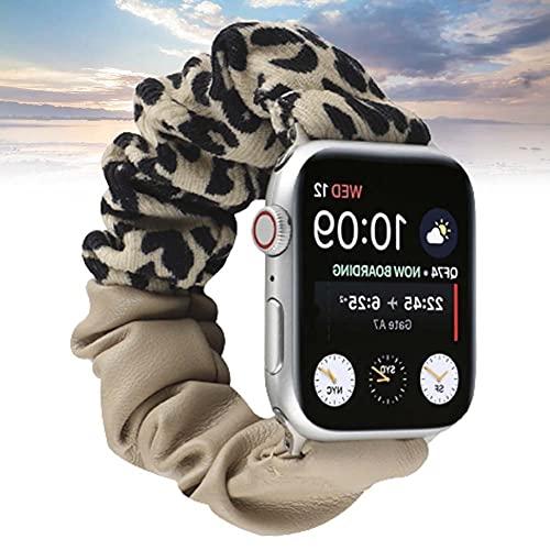 KAEGREEL Scrunchie Elastic Band Compatible con Apple Watch Strap 38 mm 42 mm 40 mm 44 mm, Correa de Reloj Suave para Mujer, Pulsera de Repuesto para iWatch SE/Series 6/5/4/3/2/1,B,38/40mm