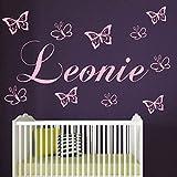 Wandtattoo Kinderzimmer Wunsch Namen personalisiert mit 10 Schmetterlingen Jungen.Mädchen Wandaufkleber Baby Anfertigung 21 Farben Auswahl