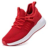 SDolphin Running Shoes Women Sneakers - Walking Tennis Workout Gym Lightweight Comfortable Nursing Memory Foam Fashion Training Breathable Mesh Supportive Shoes Red Size 8
