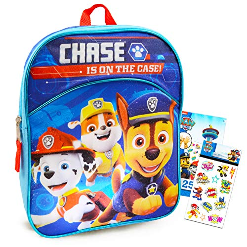 Paw Patrol Backpack for Boys Bundle ~ Premium 11' Paw Patrol Mini School Bag for Toddlers with Stickers and Tattoos (Paw Patrol School Supplies)