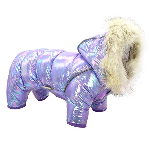 Beirui Waterproof Small Dog Coats for Winter - Warm Padded Pet Puppy Dog Snow Jacket - Cute Hoodie Clothes for Small Dogs Cat Puppies (Purple,Chest 13'')