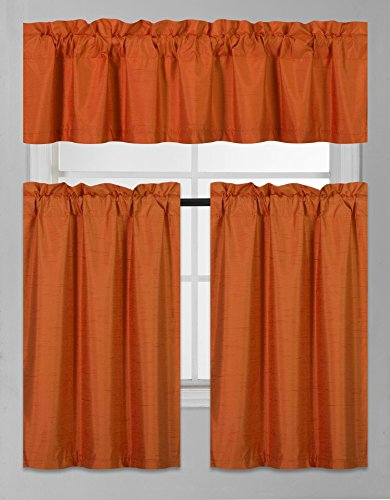 GorgeousHomeLinen (K3) 3 PC Kitchen Window Valance Tier Curtain Faux Silk Panels Solid Lined Thermal Blackout Drape Set (Orange)