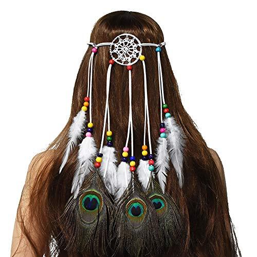 Ssowun Bandeau Hippie Plumes, Femme Bandeau Indien Bohême Bandeau de Cheveux Bandeau de Plumes de Paon Headpiece Party Fancy Dress
