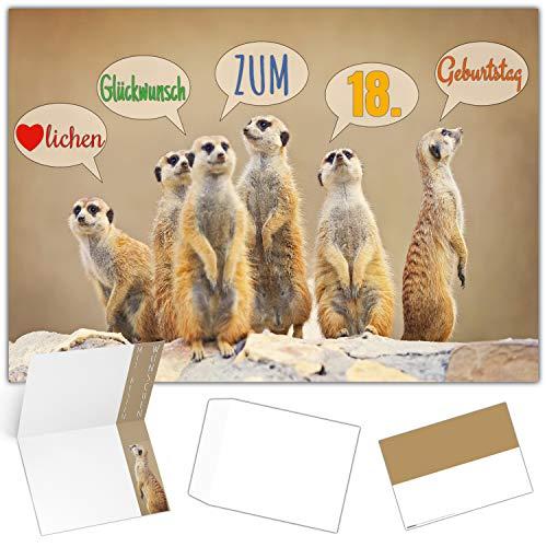 A4 XXL 18 Geburtstag Karte ERDMÄNNCHEN mit Umschlag - edle Geburtstagskarte - Glückwunschkarte zum 18. Geburtstag Junge & Mädchen von BREITENWERK
