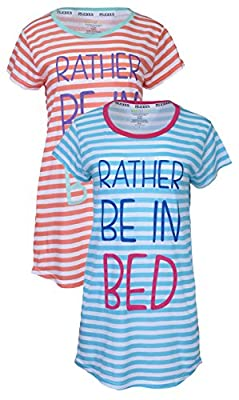 PJ Licious 2 Pack Womens High Low Graphic Sleep Tee Night Gown