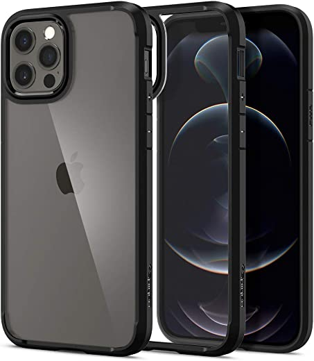 Spigen Ultra Hybrid Back Cover Case Compatible with iPhone 12 Pro   iPhone 12 (TPU + Poly Carbonate   Matte Black)