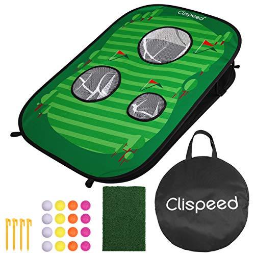 CLISPEED Golf Hinterhof Spiel Set Pop-Up Golf Chipping-Netz enthält 16 Trainingsbälle, 1 Schlagmatte und 4 Einsätze