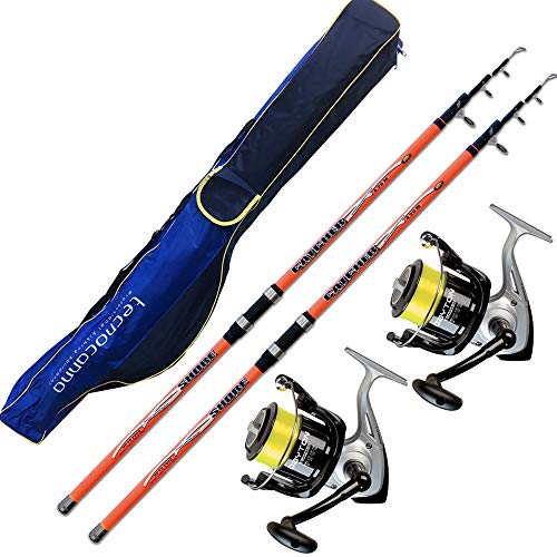Evo fishing Kit SURFCASATING 2 CANNE Catcher 390 CM 200 GR + 2 MULINELLI TRABUCCO Dayton 6500 + Fodero PORTACANNE