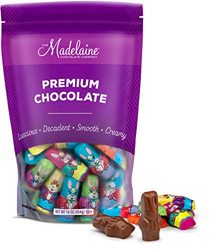 Madelaine Solid Premium Milk Chocolate Mini Easter Bunnies Wrapped In Colorful Tuxedos (1 LB) by The Madelaine Chocolate Company