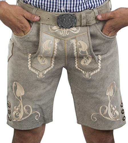 Herren Bergkristall helle/graue Lederhose kurz - inkl. Wappen Trachtengürtel - Trachten Lederhose Vintage mit Gürtel (48, grau)