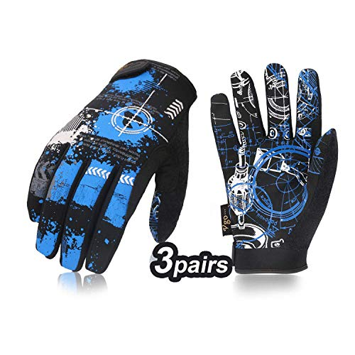 Vgo 3 Pairs High Dexterity Light Duty Antislip Mechanic Glove (Size XL, Blue, SL8690)