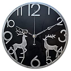 Yazhben Home Retro Metal Industrial Wall Clock,12 Inch Round Deer Digital Numerals Easy to Read Battery Operated Non-Ticking Decorative for Living Room (Grey Reindeer, 12 inch)