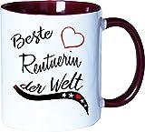 Mister Merchandise Becher Tasse Beste Rentnerin der Welt. Kaffee Kaffeetasse liebevoll Bedruckt Beruf Job Arbeit Weiß-Bordeaux