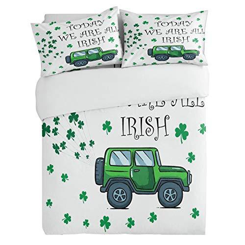 SUN-Shine 3PiecesBeddingDuvetCoverSet Watercolor Truck with Celtic Knots Lucky Clover, SuperSoftLuxuryQuiltCoversandPillow CasesforKids/Teens/Adults/Men/Women BedroomDecor, Green White
