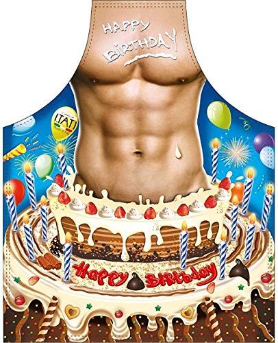 ITATI Delantal Sexy Parrilla Barbacoa Delantal de Cocina Antimanchas para Hombre, Modelo Feliz Cumpleaños, Medidas 75 x 58 cm