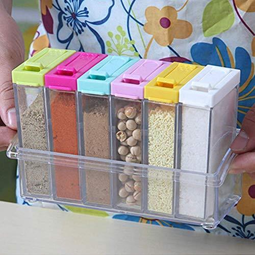Caja de condimento de plástico transparente, 6 juegos de botella de condimento para uso creativo en el hogar, conveniente y práctico