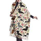 Bufanda de mantón Chales para, Bufanda de cachemira con estampado floral de perros salchicha Dachshund para mujeres y hombres, bufandas de invierno suaves y ligeras de gran tamaño, chales con flecos