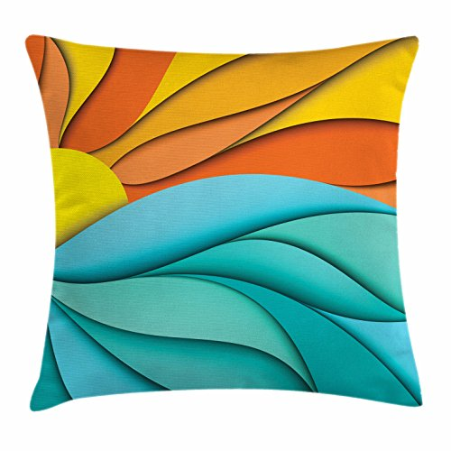 Lunarable Sun Throw Pillow Cushion Cover, Abstract Sunset and Sunrise Concept with Ocean Sea Waves Backdrop, Decorative Square Accent Pillow Case, 26