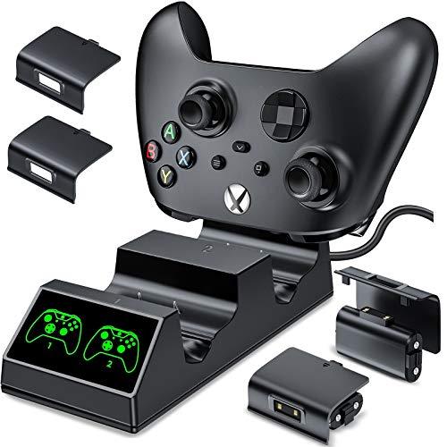 BEBONCOOL Controller Ladestation für Xbox One mit 2x1200mAh Wiederaufladbarer Controller Akku Kompatibel mit Xbox Series X/Xbox Series S/Xbox One/Xbox One S/Xbox One X/Xbox One Elite